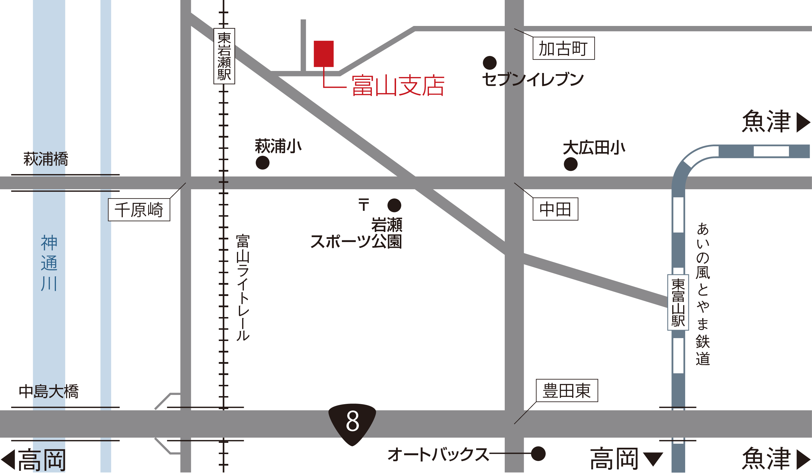 ハリタ金属株式会社 富山支店マップ